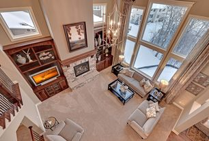 Contemporary Great Room with picture window, stone fireplace, Edward Sofa, Cathedral ceiling, Fireplace, Loft, Carpet