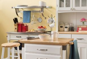 """Contemporary Kitchen with Breakfast bar, Winsome Basics 24"""" Bar Stool (Set of 2), One-wall, Flat panel cabinets, Flush"""
