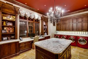 Traditional Laundry Room with Chandelier, Undermount sink, Built-in bookshelf, travertine tile floors, Crown molding