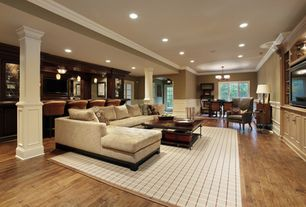 Traditional Basement with Paint, Built-in bookshelf, Abbyson living claridge fabric sectional, French doors, Standard height