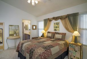 Eclectic Master Bedroom with Carpet, Ceiling fan