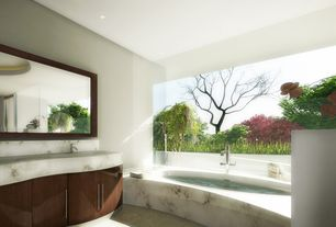 Contemporary Master Bathroom with Complex marble counters, Complex Marble, simple granite floors, Undermount sink, Mural