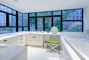 Modern Master Bathroom with Standard height, picture window, can lights, drop in bathtub, Master bathroom, Double sink, Flush