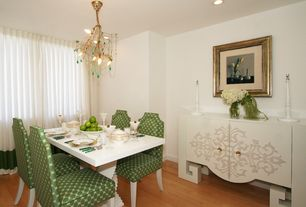 Eclectic Dining Room with Sole Designs Side Chair (Set of 2), Hardwood floors, Chandelier