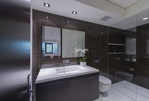 Modern Master Bathroom with Corian solid surface countertop in designer white, Flush, Corian counters, European Cabinets