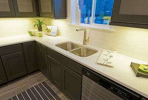 "Contemporary Kitchen with Multiple Sinks, Flat panel cabinets, L-shaped, Flush, Hammersmith Subway Tile White / 3""x6"""