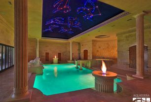 Traditional Swimming Pool with Indoor pool, exterior stone floors, Fire pit, Fountain, French doors