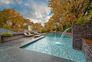 Contemporary Swimming Pool with Fence, Fountain, exterior stone floors, Pathway