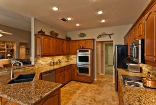 Traditional Kitchen with Sapphire Cabinet Doors Raised Panel Cathedral Arch, Ms International Giallo Vicenza Granite, Flush