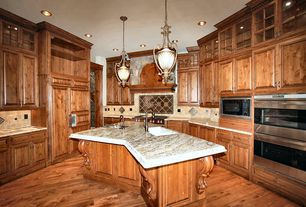 Traditional Kitchen with Stone Tile, Kitchen island, Fine Art Lamps Stile Bellagio Pendant Light, U-shaped, Undermount sink