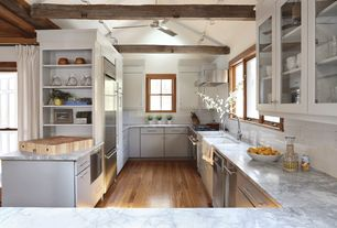 Cottage Kitchen with Inset cabinets, flush light, U-shaped, Ceiling fan, Exposed beam, Glass panel, Farmhouse sink