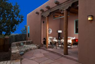 Mediterranean Porch with Screened porch, Fence, Pathway, Gate, exterior stone floors