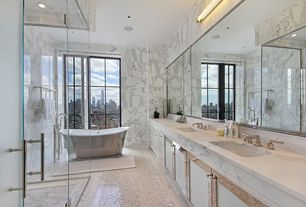 Contemporary Master Bathroom with picture window, Master bathroom, frameless showerdoor, Double sink, Flat panel cabinets