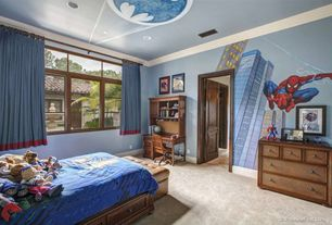 Traditional Kids Bedroom with Mural, Carpet, Built-in bookshelf, Crown molding, specialty door