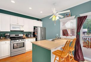 """Traditional Kitchen with Emerson Satin White Premium Select 42"""" 5 Blade Ceiling Fan, Crown molding, flush light, One-wall"""