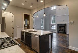 Traditional Kitchen with Complex marble counters, Multiple Sinks, can lights, picture window, Standard height, Kitchen island