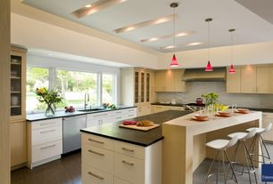 Contemporary Kitchen with LG Hausys HI-MACS-Solid Surface Countertop in Black, L-shaped, Flush, Simple granite counters