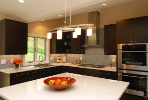 Contemporary Kitchen with European Cabinets, Casement, Kitchen island, Paint, Standard height, full backsplash, dishwasher