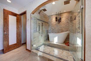Contemporary Master Bathroom with interior wallpaper, stone slab showerbath, Hardwood floors, frameless showerdoor