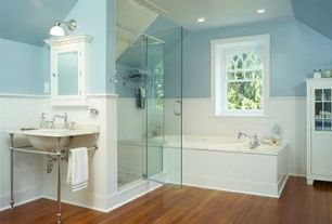 Country Full Bathroom with Glass panel, Wainscotting, Limestone, frameless showerdoor, Paint, can lights, partial backsplash