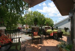 Traditional Patio with Fence, Deck Railing, exterior brick floors