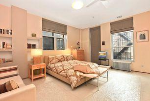 Modern Guest Bedroom with Carpet, Built-in bookshelf, Ceiling fan