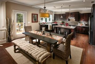Contemporary Kitchen with Crown molding, Breakfast nook, European Cabinets, Pendant light, Kitchen island, Limestone Tile