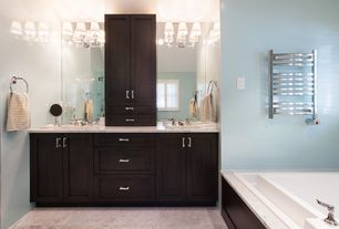 Contemporary Master Bathroom with Ms international carrara white marble, Flat panel cabinets, Simple marble counters, Flush