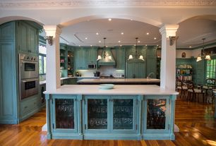 Traditional Kitchen with Panel ready full size side-by-side refrigerator/freezer, Jenn-air - double wall oven, Arched doorway