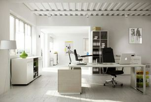 Contemporary Home Office with flush light, Hardwood floors, Exposed beam