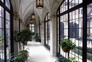 Traditional Hallway with High ceiling, picture window, Casement, French doors, Pendant light, Paint, Wall sconce