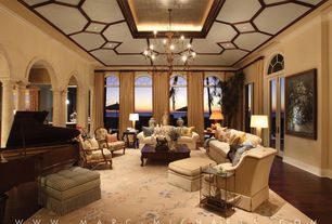 "Traditional Living Room with Restoration hardware- 18th c. bartolomeo collection- 63"", Arched window, can lights, Chandelier"