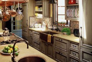 Country Kitchen with Exposed beam, Custom copper range hood, Skylight, Limestone counters, Pendant light, Inset cabinets