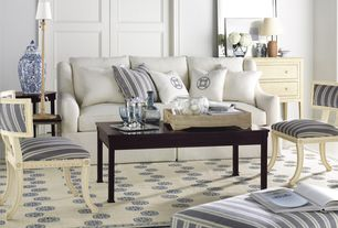 Traditional Living Room with Hickory Chair Sutton Skirted Sofa, Coffee table, Area rug, Alexa Hampton Regan Klismos Chair