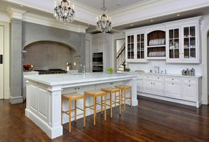 Traditional Kitchen with Ms international - calacatta classic marble, Undermount sink, Kitchen island, Crown molding