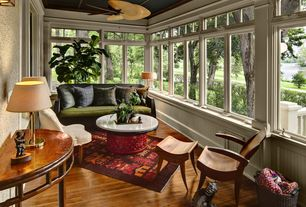 Eclectic Porch with Engineered click lock hardwood flooring, Ceiling fan, High ceiling, Enclosed porch, Crown molding