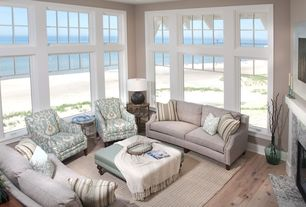 Traditional Living Room with Beach house, Contrasting interior trim, Beach style, Hardwood floors, Sweep armchair