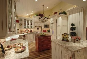 Country Kitchen with Glass panel, Chandelier, Kitchen island, High ceiling, Thomasville cabinetry in maple corn silk