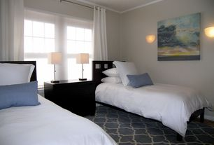Contemporary Guest Bedroom with Wall sconce, specialty window, Carpet, Crown molding, Standard height