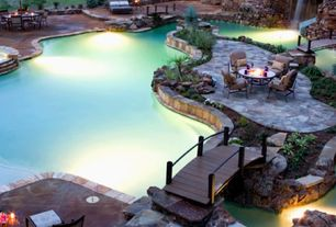 Rustic Swimming Pool with Fountain