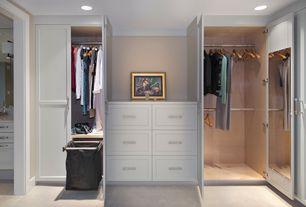 Traditional Closet with can lights, Concrete floors, Built-in bookshelf, six panel door, Standard height