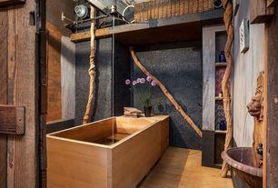 Modern Full Bathroom with Japanese Ofuro Bathtub, Pedestal sink, Freestanding, Graphite Venetian Pebbles, Hardwood floors