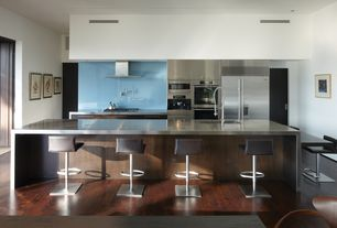 Contemporary Kitchen with One-wall, Brooks Custom Stainless Steel Countertops, Breakfast bar, Flush, Undermount sink