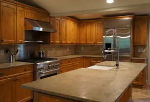 Rustic Kitchen with L-shaped, Travertine counters, travertine tile floors, MS International Tuscany Noce Travertine