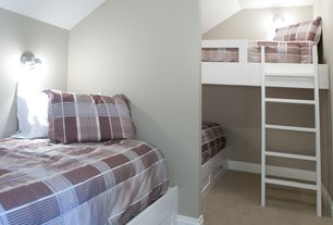 Traditional Guest Bedroom with Carpet, Wall sconce, Built-in bookshelf