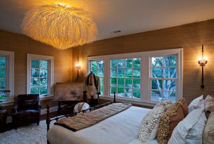 Eclectic Guest Bedroom with Chandelier, High ceiling, Wall sconce, Anemone cocoa sticks hanging lamp, interior wallpaper