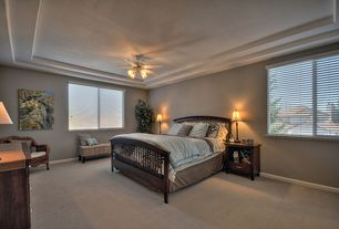 Traditional Master Bedroom with Carpet, Ceiling fan, Wildon Home  Emhouse Slat Bed (Queen Size)
