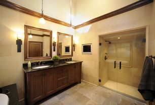 Craftsman Master Bathroom with can lights, specialty door, stone tile floors, Crown molding, Double sink, Bathtub, Wall Tiles