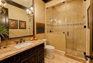 Mediterranean 3/4 Bathroom with frameless showerdoor, partial backsplash, Limestone, Raised panel, specialty door, Shower