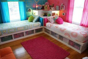 Contemporary Kids Bedroom with Sheer curtain, Bunk beds, Under bed storage, Pottery Barn Teen Twisted Sheer Curtain, Twin bed